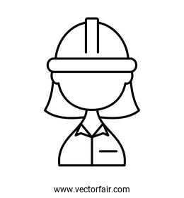 woman builder with safety helmet, line style