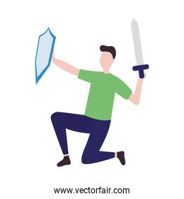 man with sword and shield, colorful design