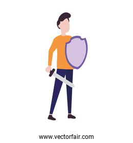 man protecting himself from covid with a shield and sword, colorful design