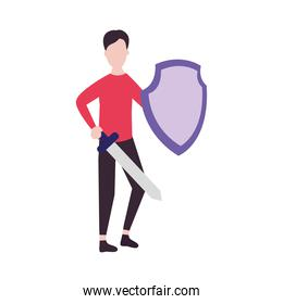 man standing protecting himself from covid with a shield and sword, colorful design