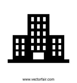 hotel building icon, silhouette style