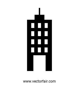 icon of hotel building, silhouette style