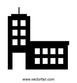 icon of office building, silhouette style