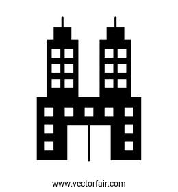 design of hotel building, silhouette style