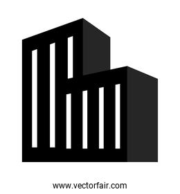 icon of city building, silhouette style