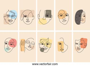 icon set of abstract faces, colorful design