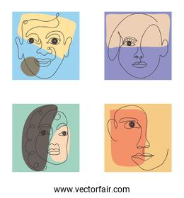 colorful icon set of abstract faces