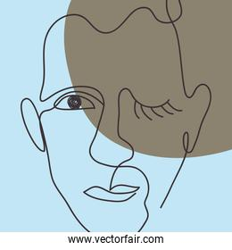 colorful hand drawn modern abstract male face