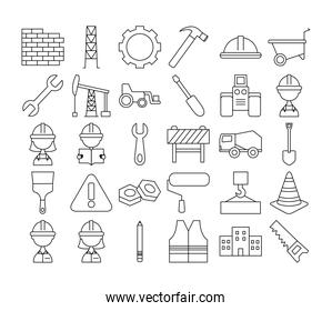tools and construction collection, line style