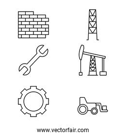 bricks wall and construction icon set, line style