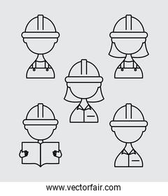 construction builders icon set, line style