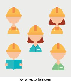 construction builders icon set, flat style