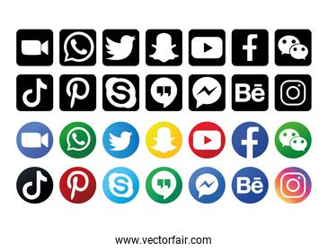 silhouette and colorful social media logo collection