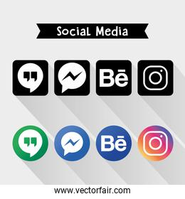 Icon set of social media logos, colorful and silhouette design