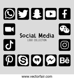 logo collection of social media, silhouette style