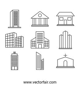 business buildings and city buildings icon set, line style