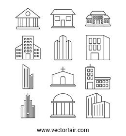 icon set of city buildings, line style