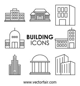 city buildings icons collection, line style