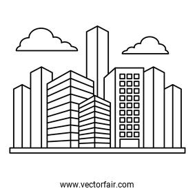 city buildings and clouds design, line style