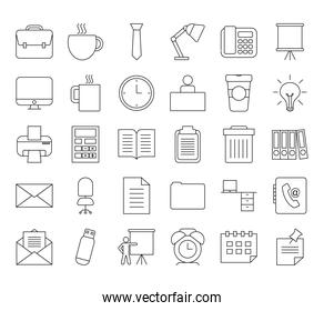 office elements icon set, line style