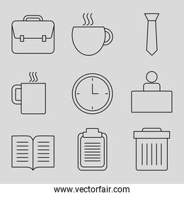 briefcase and office icon set, line style