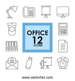 icon set of office, line style