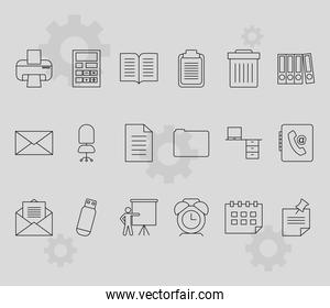 printer and office icon set, line style