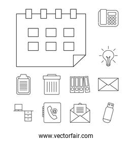calendar and office icon set, line style