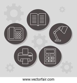 desk lamp and office icons, line style