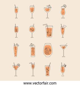 cocktail drinks icon set, colorful design