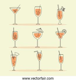 icon set of cocktails, colorful design