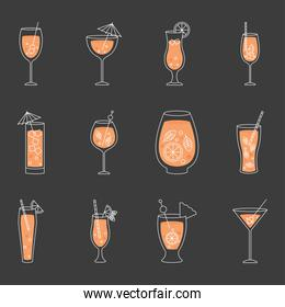 icon set of cocktail drinks, colorful design
