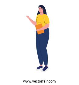 young business woman with documents avatar character