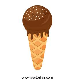 sweet delicious ice cream with chocolate cream in cone