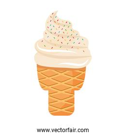 sweet delicious ice cream with chips colors in cone