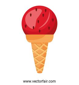 sweet delicious ice cream strawberry flavor in cone