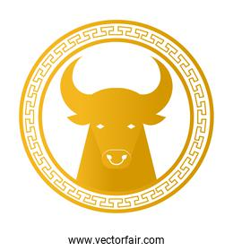 chinese new year card with golden head ox in circular frame