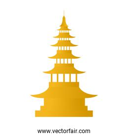 golden chinese castle decorative icon