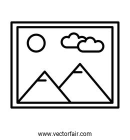 picture with mountains and sun scene line style icon