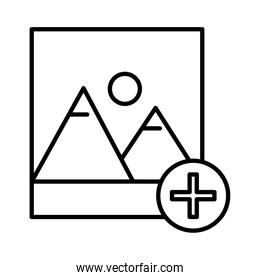 picture with mountains and sun scene with pluss symbol line style icon