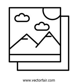 pictures with mountains and sun scene line style icons