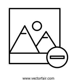 picture with mountains and sun and minus symbol line style icon