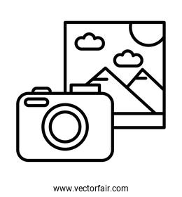 camera with picture with mountains and sun scene line style icon