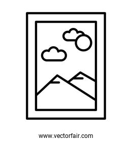rectangular picture with mountains and sun scene line style icon