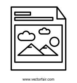 picture with mountains and sun in paper line style icon