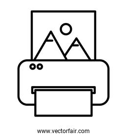 printer printing picture with mountains and sun scene line style icon