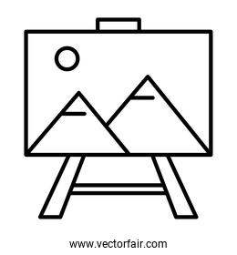 picture with mountains and sun scene in tripod line style icon