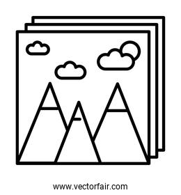 pictures with mountains and sun line style icons