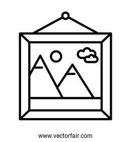 picture with mountains and sun scene hanging line style icon