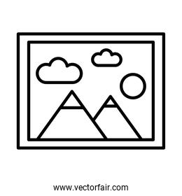 picture with mountains and sun scene line style
